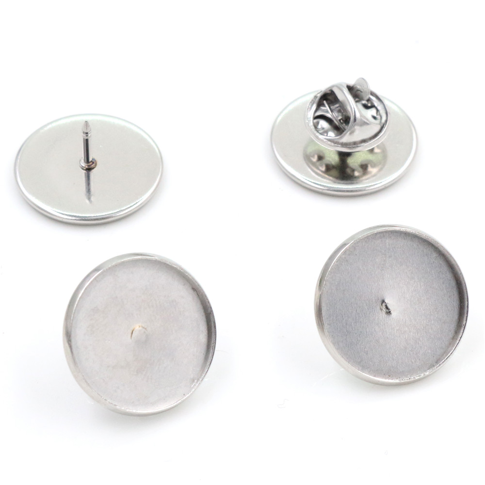 10pcs 18mm Inner Size Stainless Steel Material Brooch Style Cabochon Base Blank Cufflink Spacer Settings Tie Tack Pins-T5-09