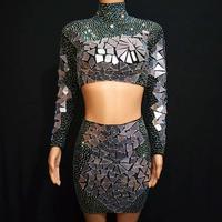 Sexy Sequin Rhinestone Nightclub Top + Skirt Two piece Set Women Bodycon Party Mini Dress Singer DJ Jazz Dance Stage Costumes