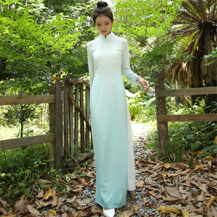 Graceful AO Dai 2020 News Summer Retro Dress For Women Vietnam Style Cheongsam Chiffon Party Chinese Elegant Female Long Robe