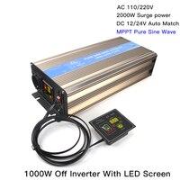 1000W Off Micro MPPT Pure Sine Wave Inverter 12/24V Hybrid Solar Wind Power Inversor Support 110V/220VAC 4000W Surge Power