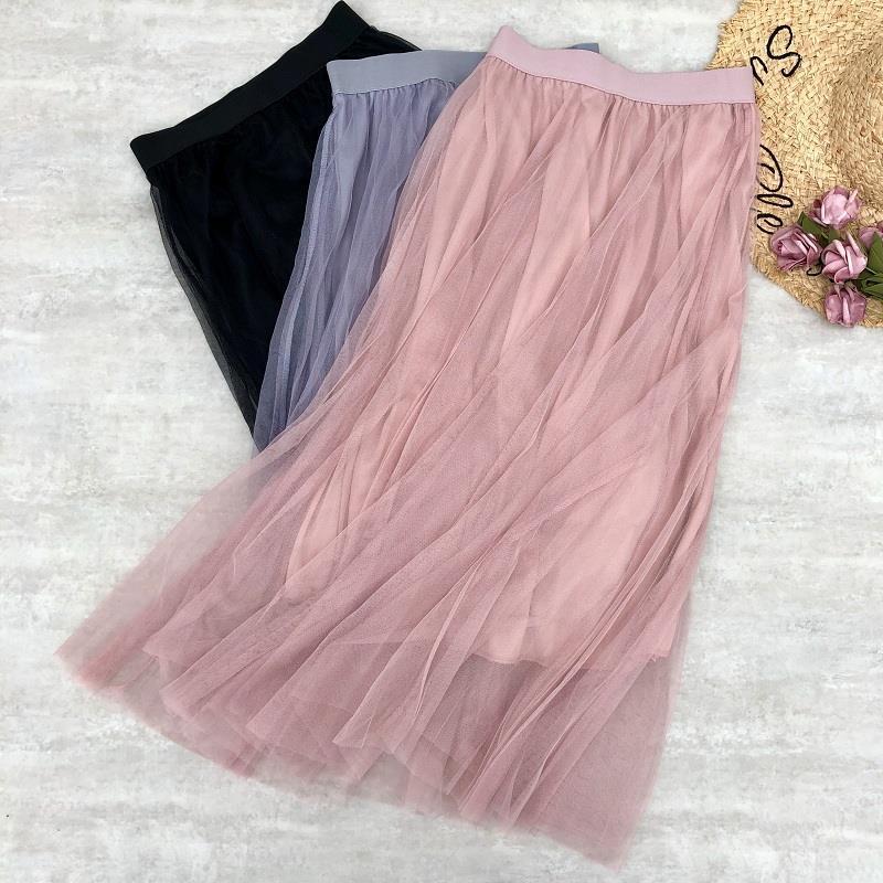 Photo Shoot Korean-style High-waisted Gauze Skirt Mid-length Fairy Pleated Skirt Double Tulle Lace Dress Tutu Skirt