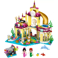 цены Fit  Friends 41063 Princess Ariel Undersea Palace The Mermaid Castle 383Pcs 10436 Building Blocks Toys For Children Gift