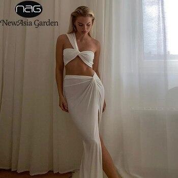 NewAsia Sexy krótki Top boczne rozcięcie długie spódnice dwuczęściowy zestaw kobiet Twist jedno ramię 2 sztuka zestawy letnie białe ubrania imprezowe 2020