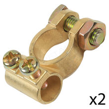 Car Battery Terminals Clamps Pair Screw Connection Positive Negative Brass Suitable for many models Fits Up To 12mm Cable Y7(China)
