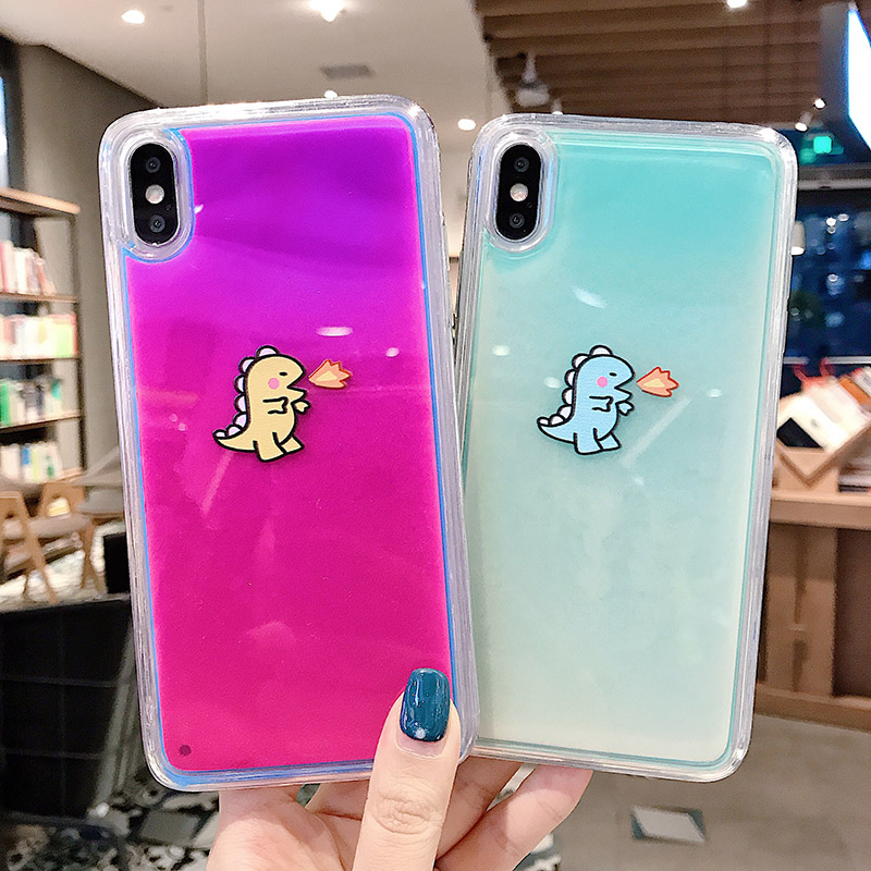 <font><b>Luminous</b></font> Neon Sand baby Dinosaur <font><b>Case</b></font> for <font><b>iPhone</b></font> XR XS max X <font><b>6</b></font> 7 8plus Glow In The Dark Liquid Glitter Quicksand Phone <font><b>Case</b></font> image