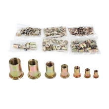 300pcs M3 / M4 / M5 / M6 / M8 / M10 / M12 Carbon Steel Flat Head Rivet Nuts Insert Riveting Tools цена 2017