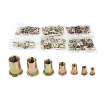 300pcs M3 / M4 / M5 / M6 / M8 / M10 / M12 Carbon Steel Flat Head Rivet Nuts Insert Riveting Tools