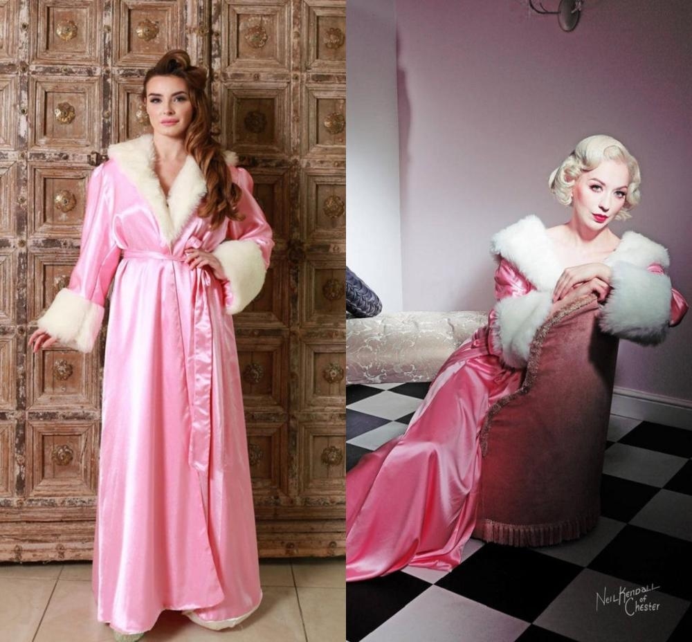 Luxury Women Pink Fur Bathrobe Sleepwear Long Nightgowns  Kimono Dressing Gown Babydoll Lingerie Bath Robe Luxury Bathgowns