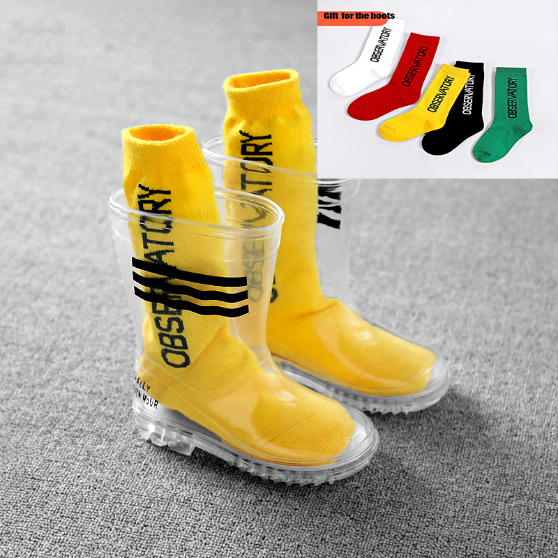 WINTER Rain Boots Kids Children's Rain Boots PVC Non-slip Kindergarten Children Students In The Rain Boots