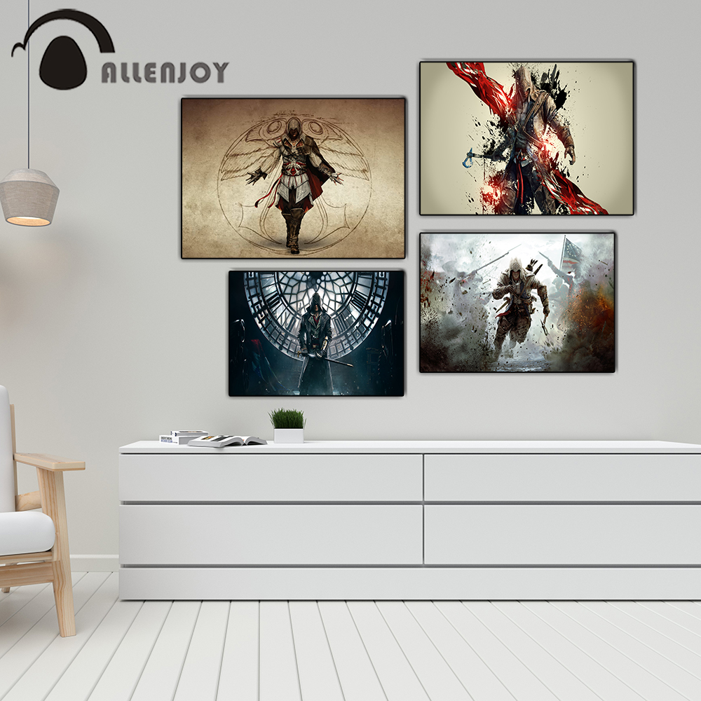 Allenjoy Game Posters Assassins Creed Soldier Cosplay Characters Child Bedroom Pictures Vintage Art Canvas Paintings on the Wall image