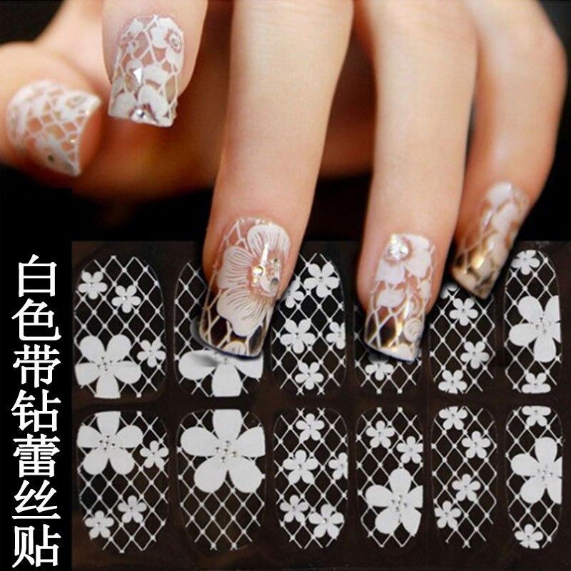 Hot Selling Nail Polish Adhesive Paper Manicure White Lace Ribbon Zuan Quan Stickers Bride Nail Sticker