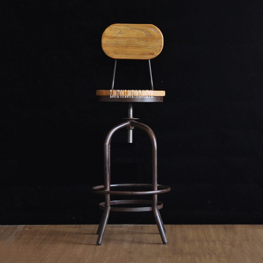 Black /Antique Finish Frame Bar Chair Iron Rust Proof Bar Tall Stool Modern Simple Round Wood High Stool With/Without Backrest