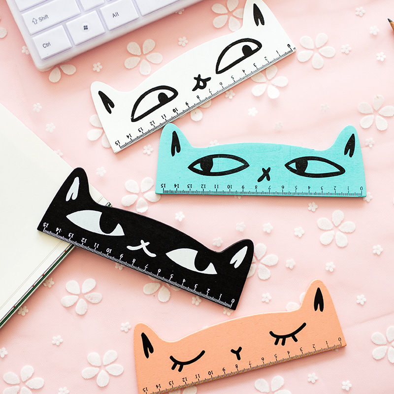 1 Pcs/lot Cute Creative Cat Wooden Rulers Kawaii Cute Girl Drawing Template Lace Sewing Ruler Stationery Office School