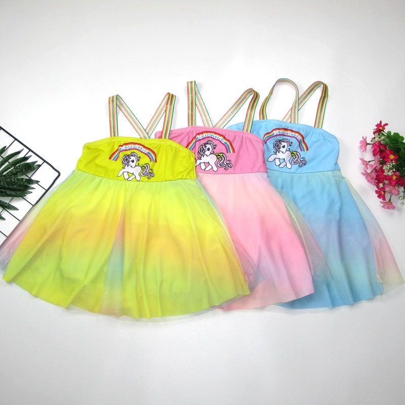Korean-style KID'S Swimwear Women's Small CHILDREN'S Cartoon Unicorn Cute Baby Swim Bathing Suit Swimming Pool Hot Springs CHILD
