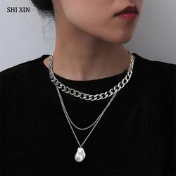 SHIXIN 2 Pcs Separable Punk Chunky Chain With Pearl Pendant Necklace for Women Layered Hiphop Choker Necklace 2020 Fashion Colar