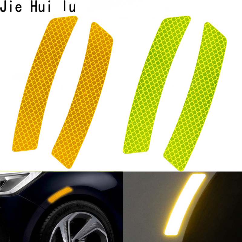 Yellow Car Bumper Reflective Safety Warning Strip Tape Reflector Stickers Decals