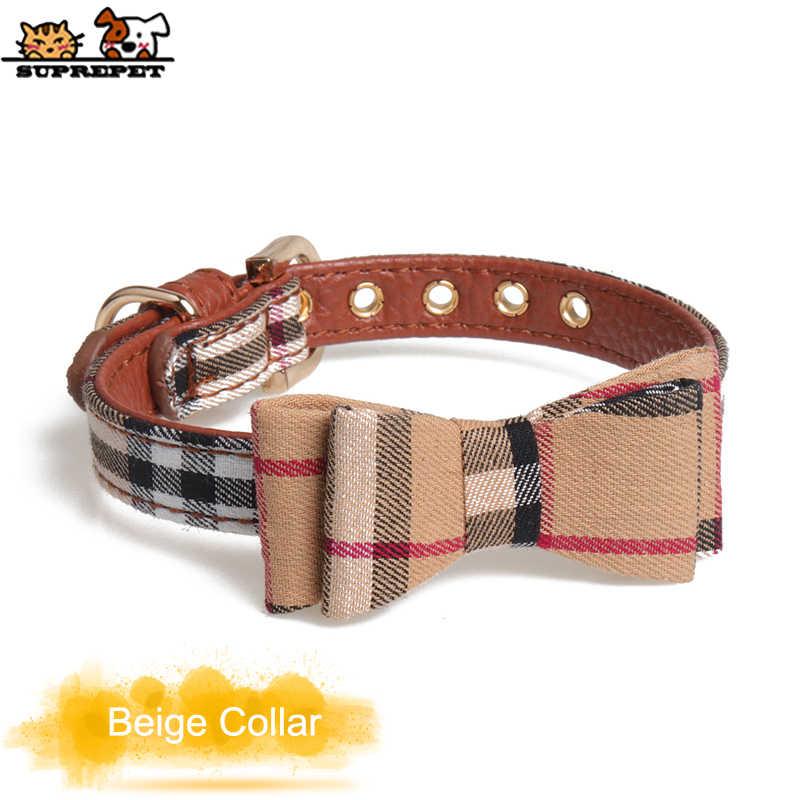 SUPREPET ペット犬猫の首輪ペットの弓の犬の首輪チェック柄犬の首輪ネックレス子犬スカーフ襟 Pu レザーペット襟 dla psa
