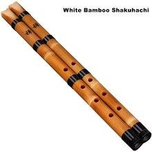 Artesanal de bambu branco natural shakuhachi chiba/japonês curta flauta xiao para brginner chinês tradicional instrumento musical