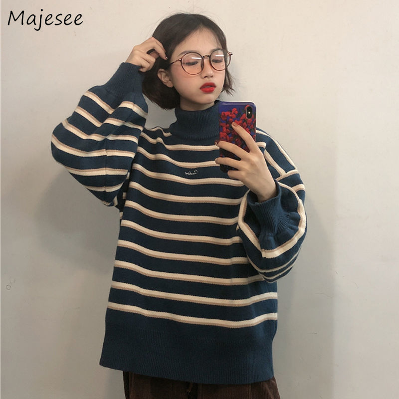Winter Clothes Women Sweater Turtleneck Striped Simple All Match Womens Korean Style High Fashion Harajuku Pullovers Casual Warm