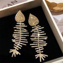 925 sterling silver needle Stud earrings Temperament fishbone long Womens fashion joker jewelry wholesale