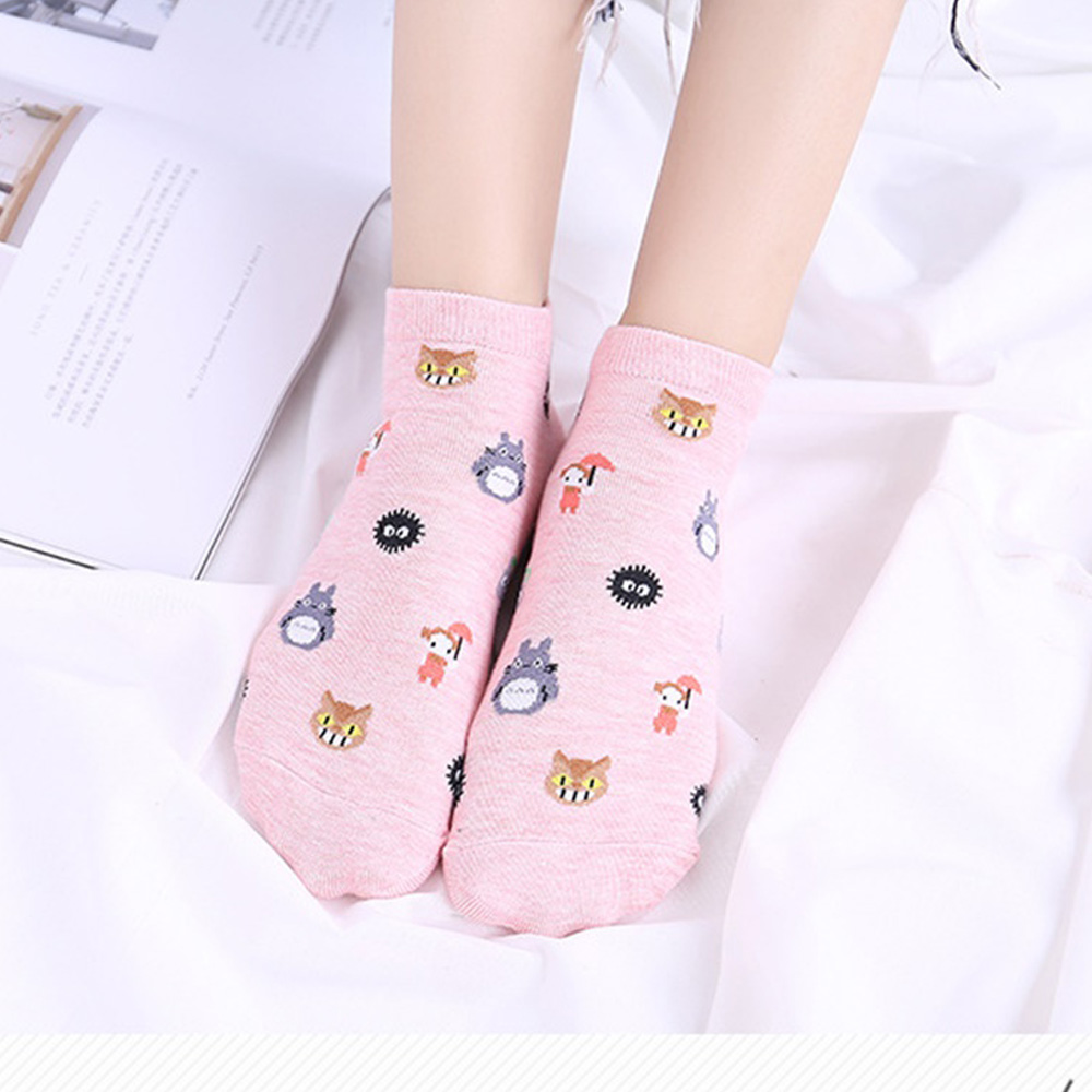 New Women Socks Cartoon Straight Low-Cut Shallow Mouth Socks Ladies Animal Printed Cotton Socks Harajuku Cute Funny Short Socks