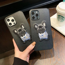 Luxury embroidery French bulldog Hard leather phone case for apple iphone 7 8 plus 11 Pro X XS XR MAX 12 MiNi SE lovely cover