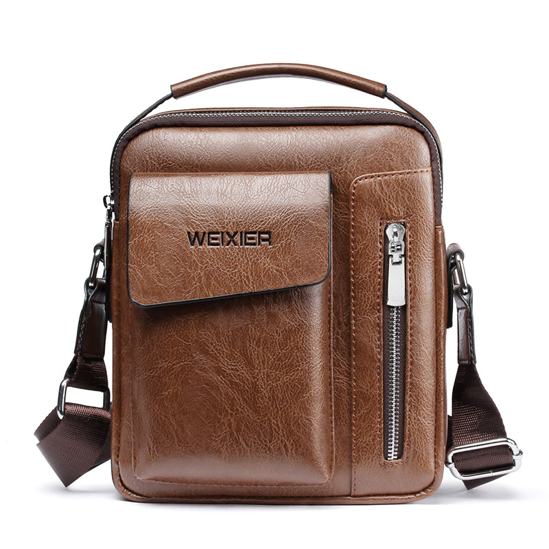 2019 New Vintage Crossbody Men's Shoulder Bag PU Leather Briefcases Bag Men's Bag Retro Zipper Business Men's Handbag