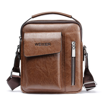 2019 New Vintage Crossbody Men's Shoulder Bag PU Leather Briefcases Bag Men's Bag Retro Zipper Business Men's Handbag