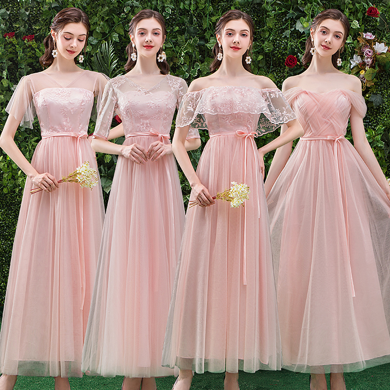 Formal Plus Size Junior Burgundy Bridesmaid Dress Pink Elegant Dress Women For Wedding Party Tulle Long Sister Sexy Prom Dress