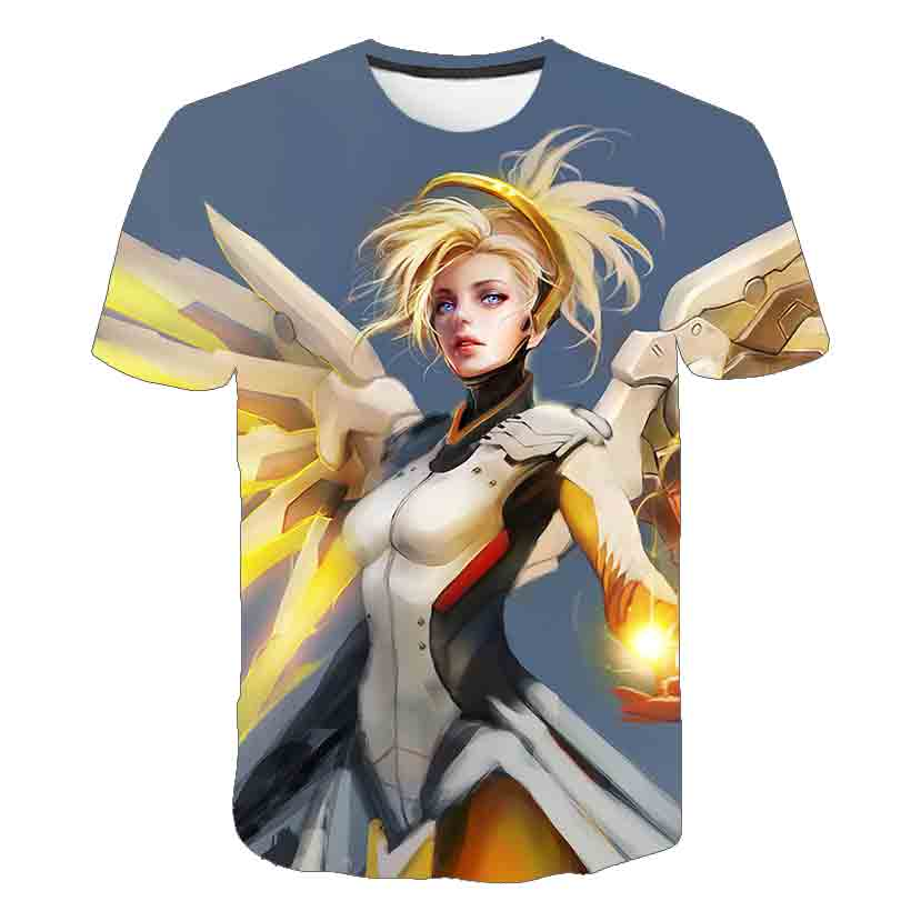 Men Tshirts Overwatch Game T-shirt Cassics Gamer Gaming Tshirt 3D Cartoon T Shirts  top Blizzard Overwatch Video Game Characters 3