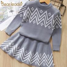 Bear Leader Girls Dress 2016 Winter Geometric Pattern Long Sleeve Clothes Top Coat+ Tutu Sweater Knitwear 2pcs