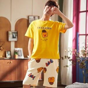 Image 4 - Cute Printing Summer Pajamas Cotton Couple Pajamas Set  Women Loungewear Lover Pyjama Femme Mens Sleepwear Home Clothing