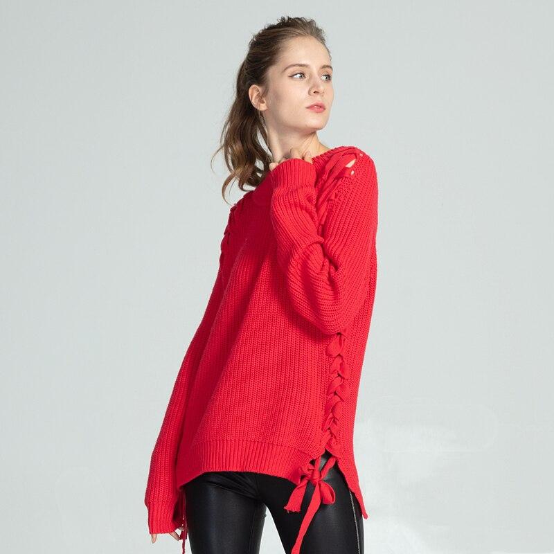 Marwin, Новое поступление, зимние, толстые, вязаные, уличный стиль, теплые, мягкие, на шнуровке, женские свитера с круглым вырезом, женские пулов...