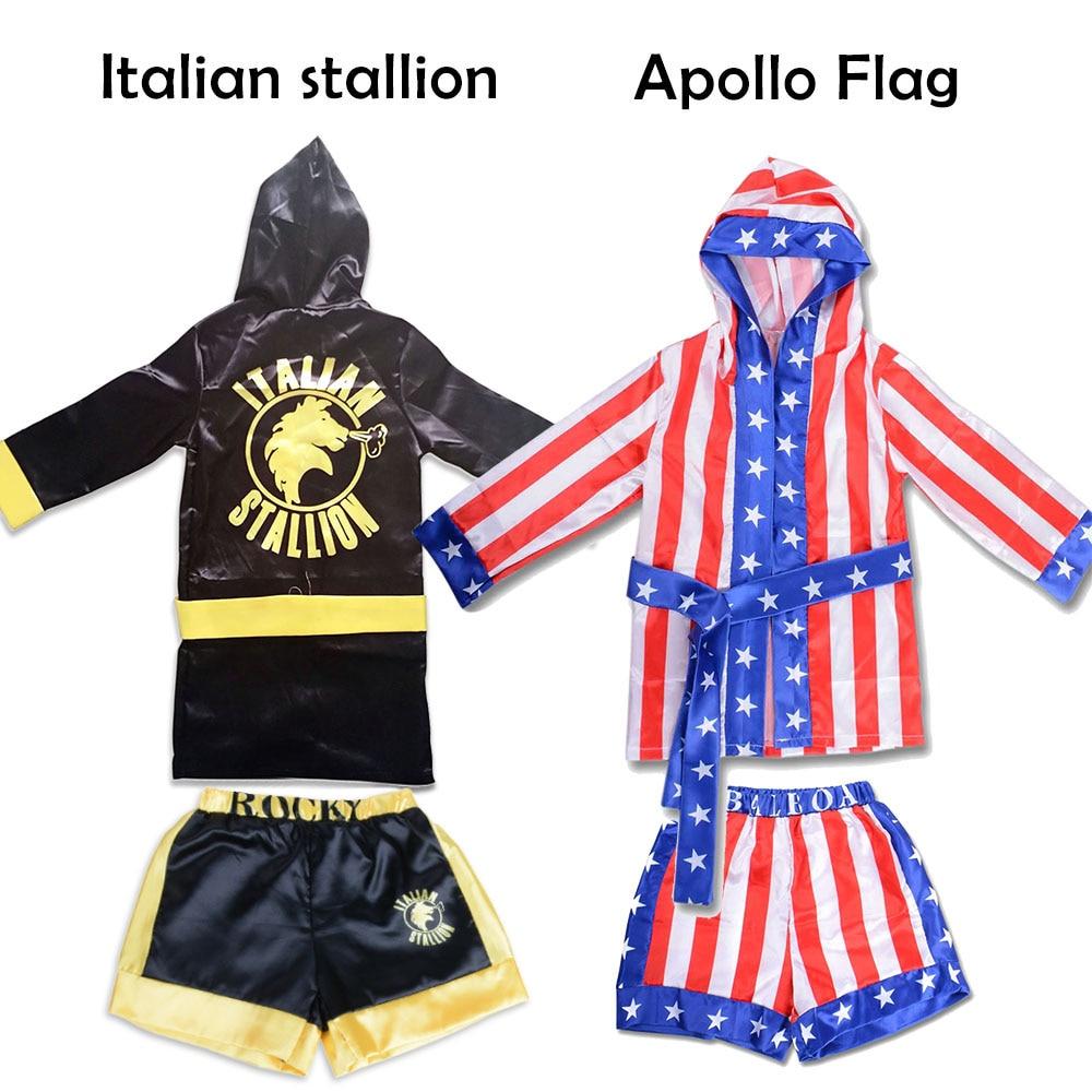 Боксерский костюм для мальчиков Детский Рокки Бальбоа халат из фильма Аполлон Косплей узор с американским флагом/Итальянский наряд на Хэлл...