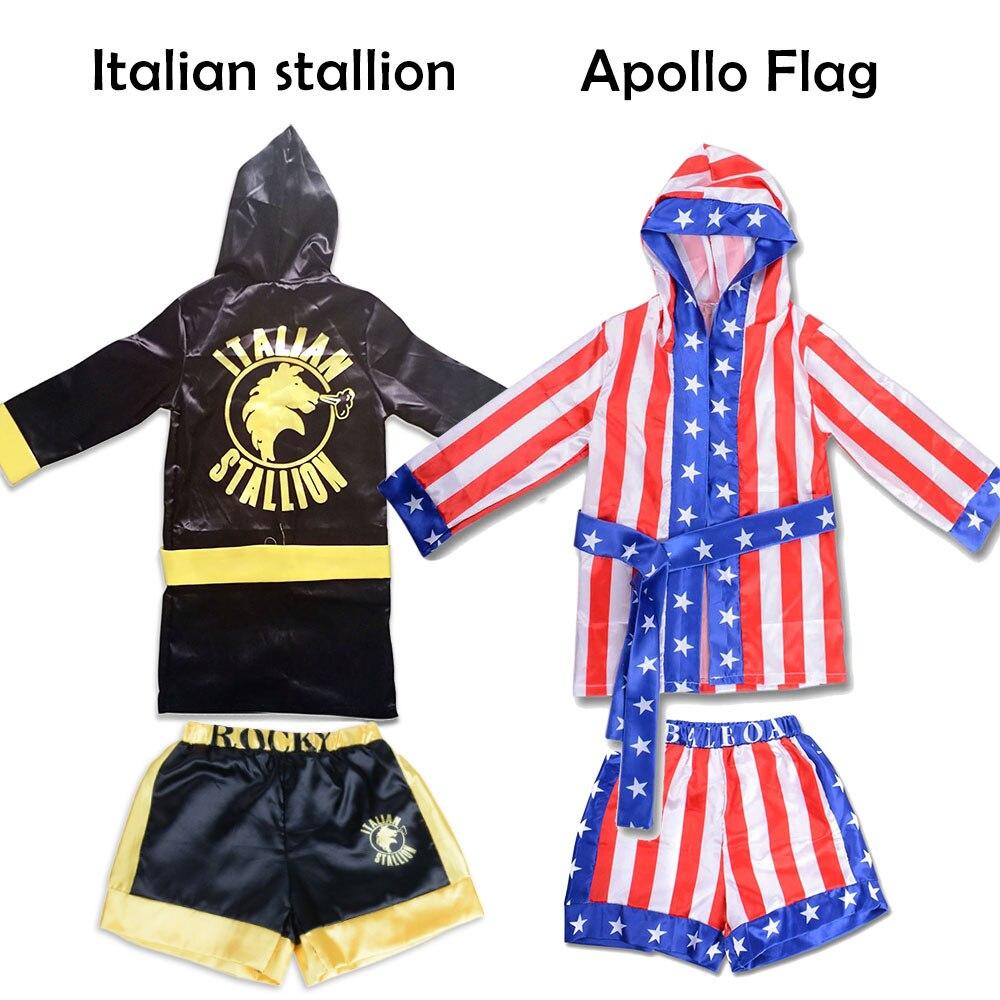 Menino traje de boxe crianças rocky balboa robe filme apollo cosplay bandeira americana padrão/italiano garanhão halloween traje para crianças