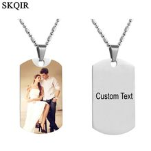 Personalized Color Photo Necklace Stainless Steel Engrave Name Necklaces For Women Men Lover Nameplate Lettering Choker Necklace(China)