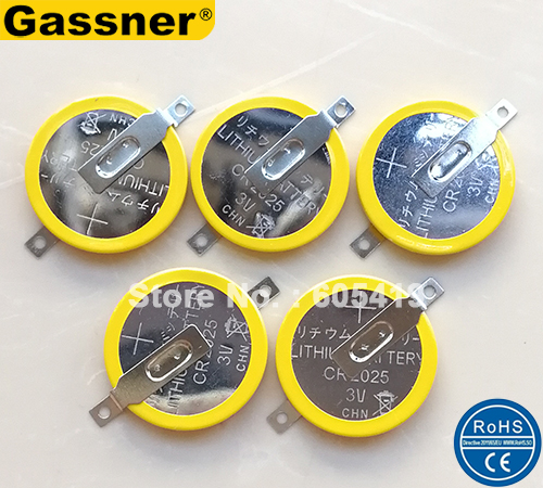 10pcs/Lot CR2025 3V Lithium Coin Cell with Pins Tabs, SMD Horizontal Flat Mounting Type battery