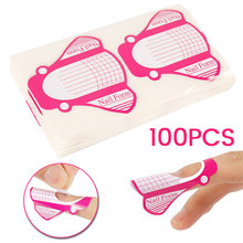100pcs Nail Extended Paper Tray Acrylic Artificial Nails Art Tips Guide Form Manicure Beauty Tools For Finger Drop Ship