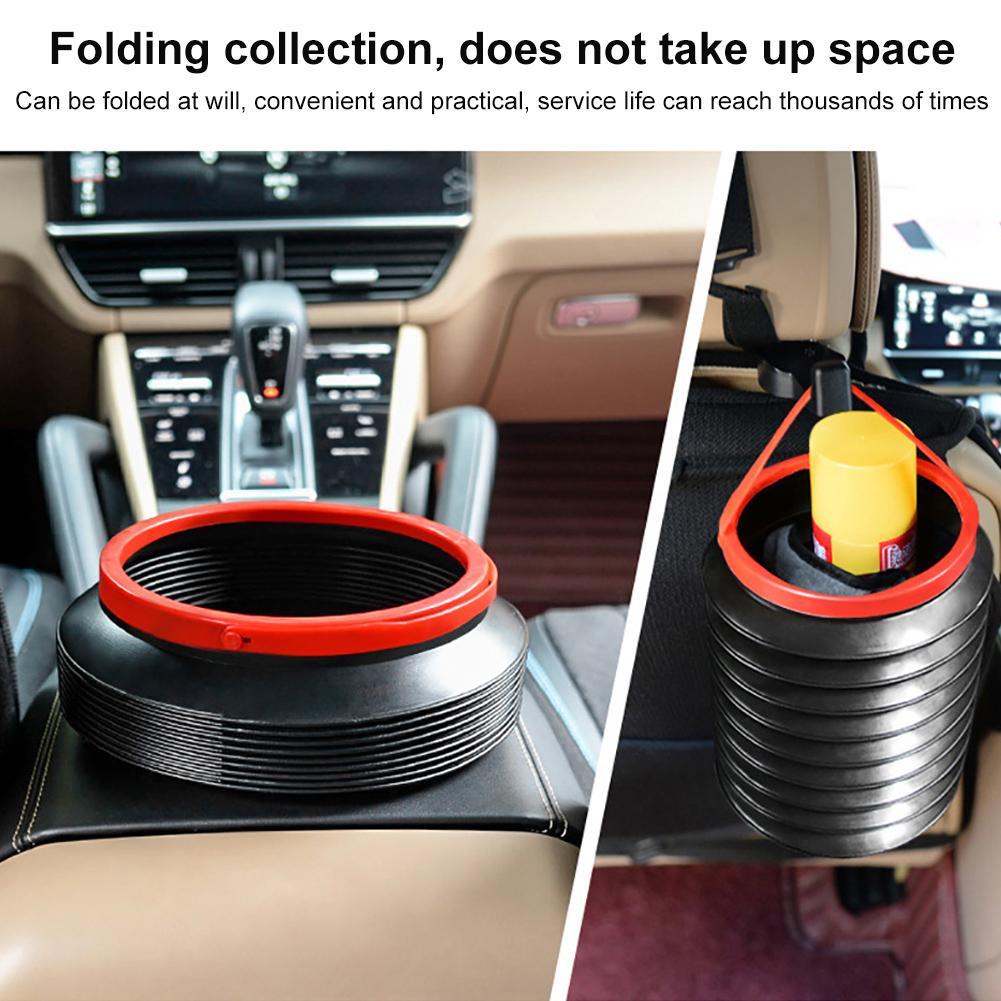 Car Interior Folded Trash Bin 4L Anti-slip Telescopic Bucket Car Storage Basket Multi-functional Mini Garbage Can