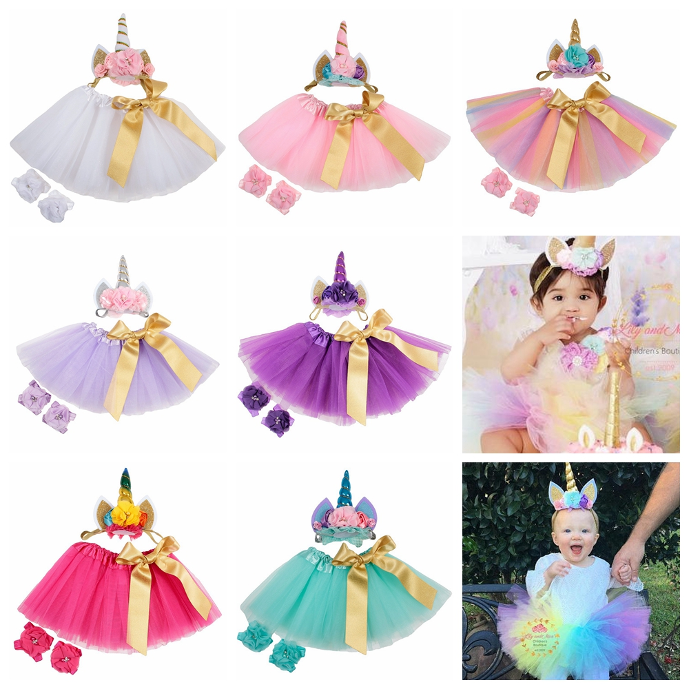 Fashion Baby Tulle Tutu Skirt With Glitter Unicorn Horn Headband Set Children Girls Unicorn Birthday Party Supplies Props