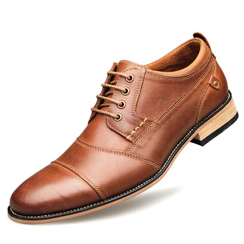 Men's Dress Shoes Leather Luxury Brand Fashion Elegant Formal Wedding Shoes Men Office Oxford Shoe For Men Lace Up men dress shoes genuine leather men oxford shoes luxury brand flats wedding oxford lace up loafers bullock shoes chaussure homme