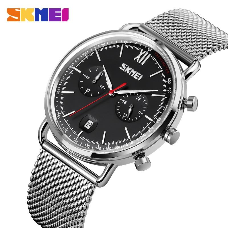 Men Watches Fashion Stainless Steel Quartz Watch For Man Stopwatch Date Display Clock Watch Waterproof SKmei Brand Mens Bracelet
