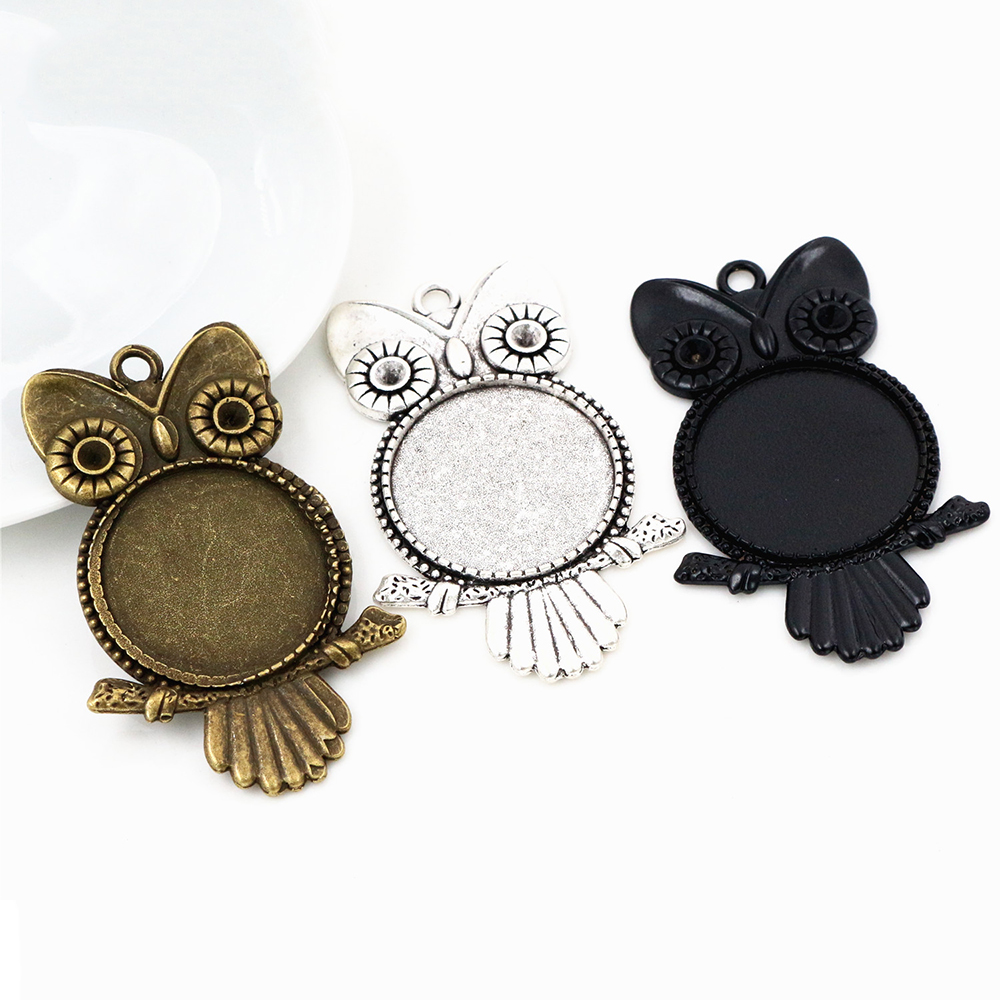 New Fashion  3pcs 25mm Inner Size Antique Silver Plated And Bronze And Black Owl Cabochon Base Setting Charms  Pendant