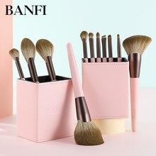 Banfi 11 pçs conjunto de escova de maquiagem rosa fundação líquido corretivo olho blush com caixa sombra pó maquiagem beleza conjunto essencial ferramentas