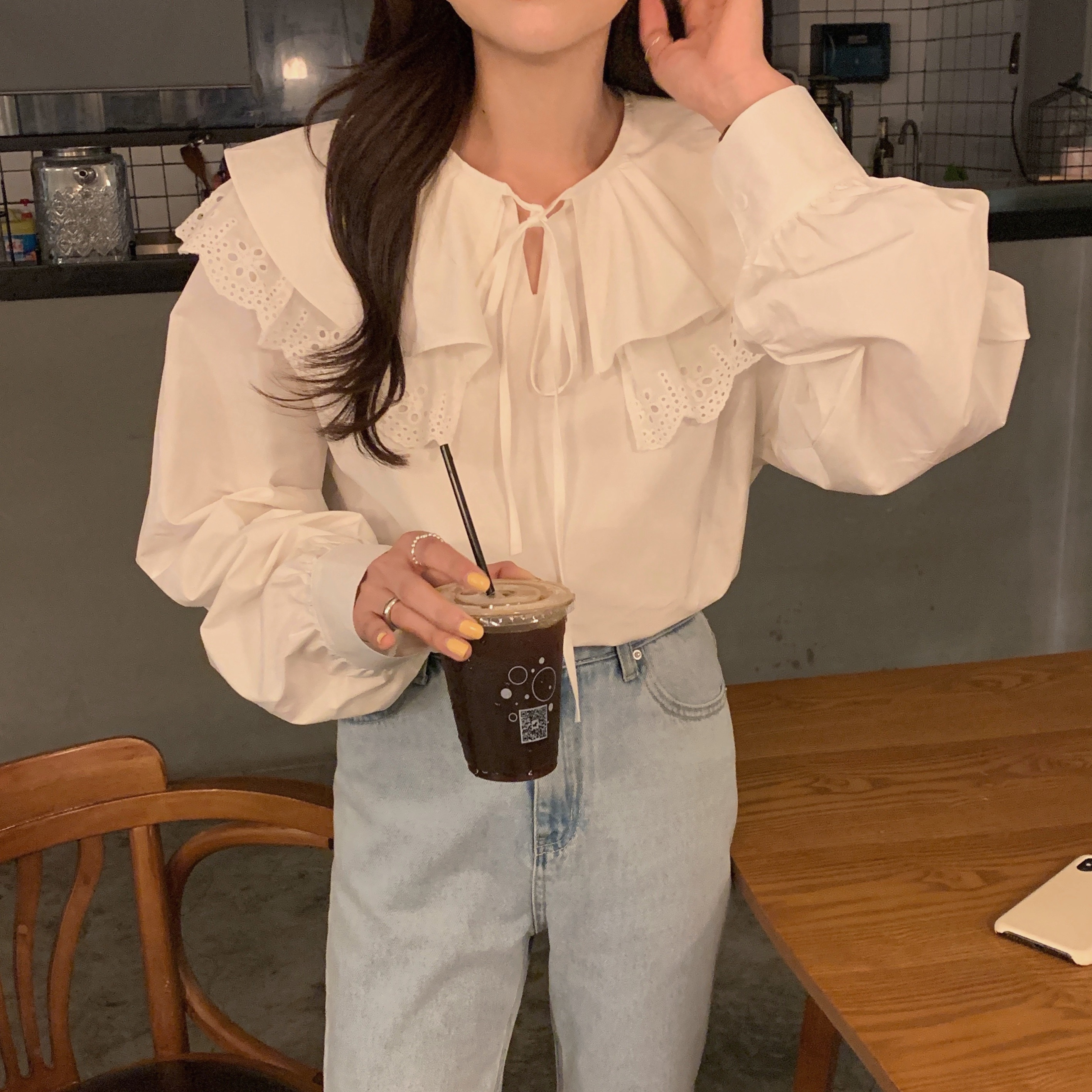 H60f353ab42284af199c040b009abacbdX - Spring / Autumn Korean Lace-Up Hollow Out Collar Long Sleeves Loose Solid Blouse