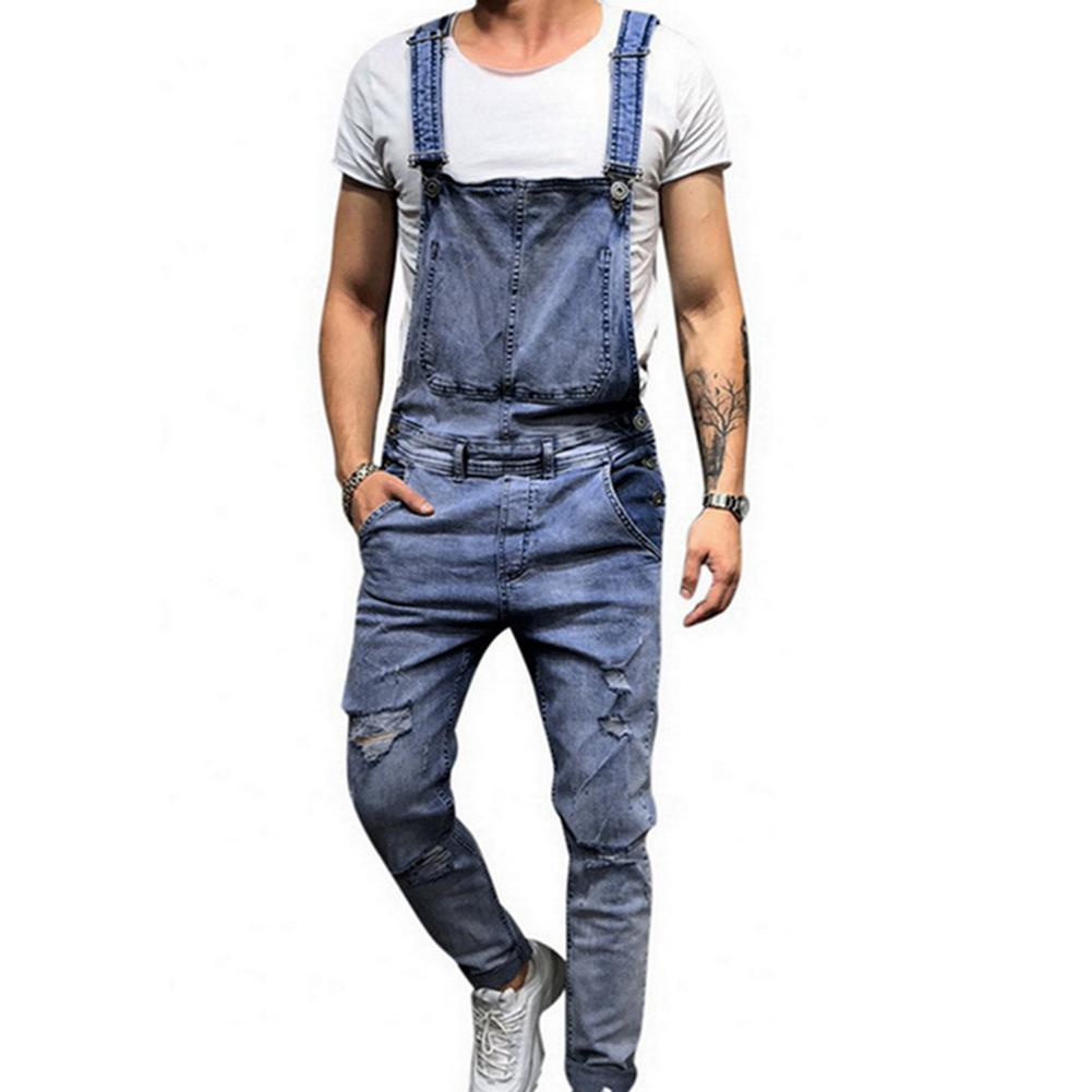 11.11 Retro Summer Men Ripped Denim Overalls Destroyed Hole Long Pants Jeans Jumpsuit Рождественский подарок