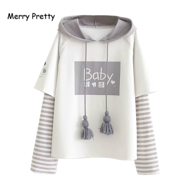 Merry Pretty Cotton Women's Letter Print Striped Patchwork Hoodies Sweatshirts 2019 Winter Long Sleeve Hooded Tracksuit Pullover