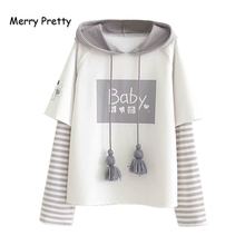 Patchwork Hoodies Pullover Sweatshirts Merry-Pretty Women's Tracksuit Spring Letter-Print