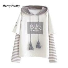 Merry Pretty Cotton Women's Letter Print Striped Patchwork Hoodies Swea