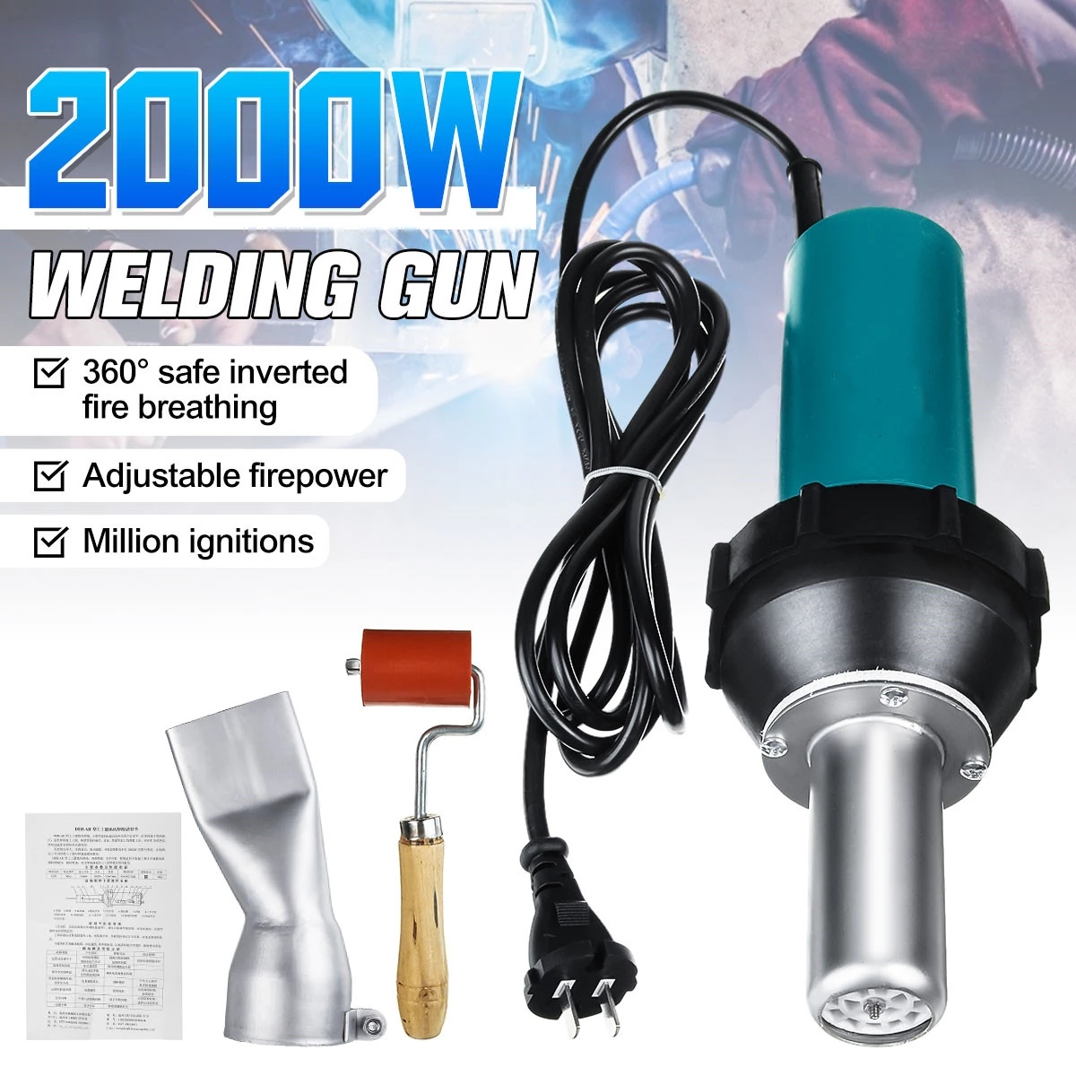 2000W 220V Soldering Welding Torch Hot Air Heat Gun Desoldering Power Tool For Welder + Round / Flat Nose EU Plug